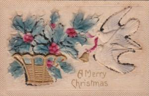 Christmas White Doves and Basket Of Holly