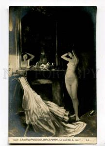 257296 Evening toilet NUDE BELLE Woman by HIRLEMANN 1910 SALON