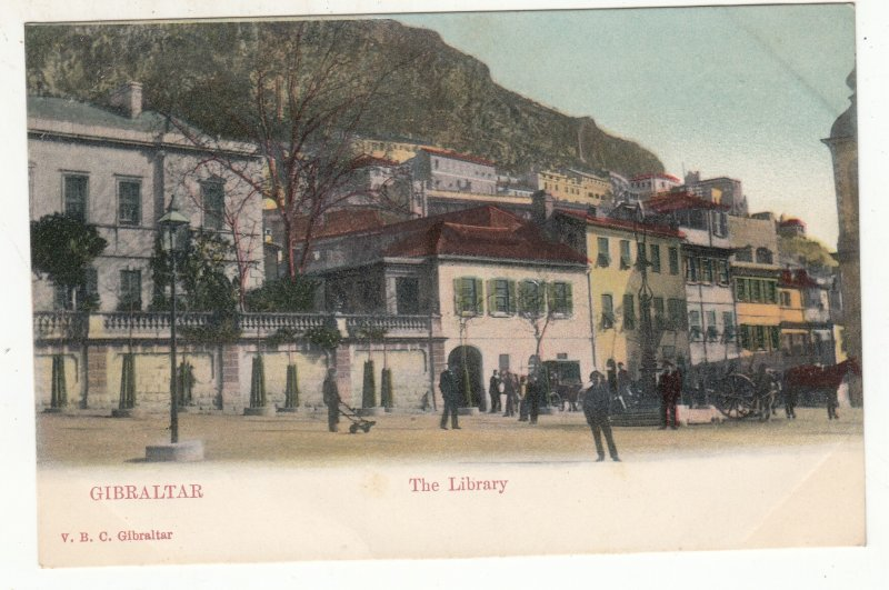 P1868 old gibraltar postcard people village the library