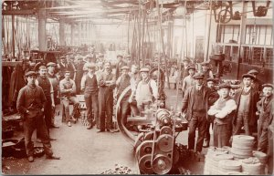 Daimler Motors Production Workers Unknown Loc. LA Stamp Box RPPC Postcard F19