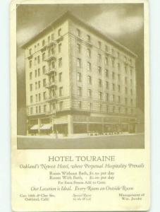 Unused Divided Back TOURAINE HOTEL Oakland California CA hr9559