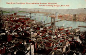 New York City East River From Singer Tower Showing Brooklyn Manhattan and Wil...
