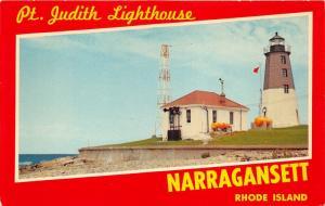 Narragansett Rhode Island~Pt Judith Lighthouse~Block Island Sound~1950s Postcard