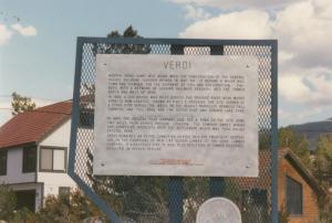 VERDI , Nevada , 80-90s ; Verdi sign