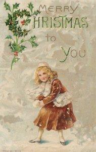 CHRISTMAS, PU-1910; Girl holding snow ball, Fur Hand Muff, Holly