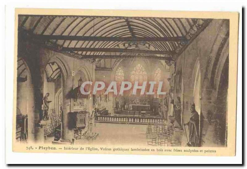 Pleyben Vintage Postcard Interior of the church vaults Gothic wood lambrisees w