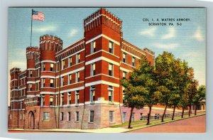 Scranton PA-Pennsylvania, Colonel L A Watres Armory, Linen Postcard