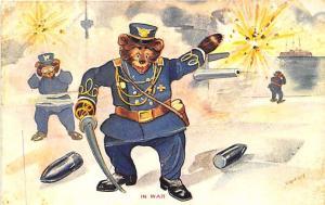 Roosevelt Bear In War Battle Ship Signed Shearer Rare Postcard