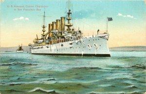 C1910 Navy Military US Armored Cruiser Charleston San Francisco Postcard 21-5957