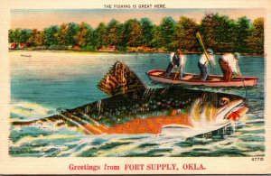 Oklahoma Greetings From Fort Supply Exageration Fishing Men Cathching Giant Fish