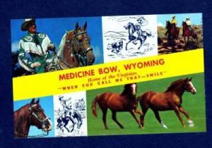 WY Horses Cowboy MEDICINE BOW WYOMING Postcard 1964