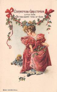 Victorian Christmas~Dainty Little Girl Hold Ups Skirt~Sunbonnet Doll~1916 Hoover