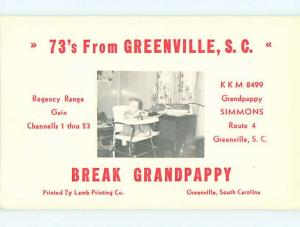 vintage QSL HAM RADIO CARD Greenville South Carolina SC t0885