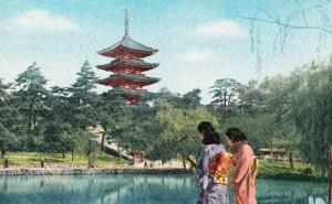 Sarusawa Pond Willow Tree Trees Nara Kimono Japanese Japan Rare 1960s Postcard