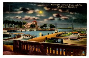 FL - Bradenton. Yacht Basin & Pier By Moonlight