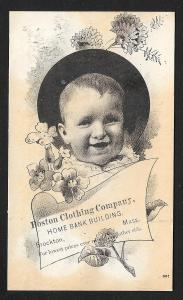 VICTORIAN TRADE CARD Boston Clothing Co Baby Portrait & Flowers