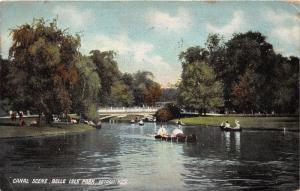 Detroit Michigan~Belle Isle Park-Canoeing on Canal~Bridge Bknd~Info Bk~1909 Pc