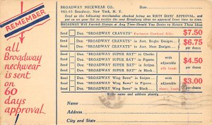 Advertising Post Card Broadway Neckwear Co New York, USA Unused