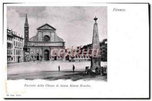 Old Postcard Firenze Facciala della Chiesa Santa Maria Nouvella