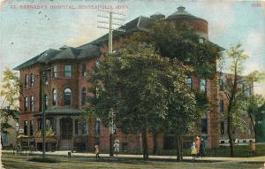 Minneapolis Minnesota~St Barnabas Hospital~Children on Sidewalk~1910 Postcard