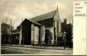1900s Baltimore, Maryland Postcard GRACE EPISCOPAL CHURCH Building Street View