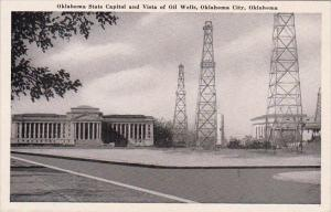 Oklahoma City Oklahoma State Capitol And Vista Of Oil Wells