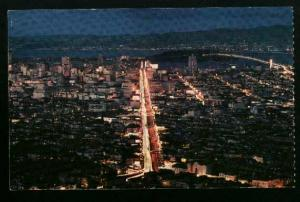 Aerial View Of San Francisco At Night - 1960s - Unused
