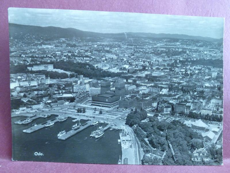 Old Postcard Norway Oslo Real Photo RPPC 1947 Airview