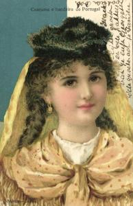 portugal, Costume e Bandeira, Girl in Costumes (1908) Stamp