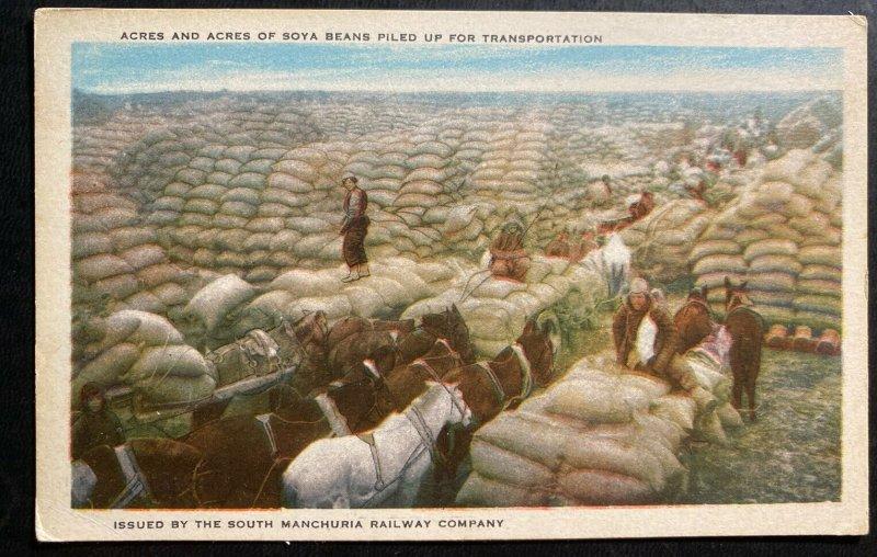 Mint Manchuria Postcard Acres & Acres Of Soya Beans Piled Up For Transportation