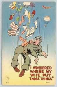 IRBY~WWII Military Comic~Airborne Parachute~Laundry Substituted~1940s Linen PC