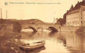 Belgium Vallee de la Lesse, Anseremme Pont Bateau, Boat River Bridge