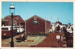 Nantucket MA, Straight Wharf, Beautiful Woman on Dock, VW Minibus, Cars, Truck,
