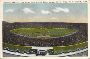 Football Game at Yale Bowl New Haven CT Dimensions Capacity 1918 Postcard
