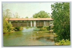 Vintage 1950's Postcard Covered Bridge Mercer County Greenville Pennsylvania