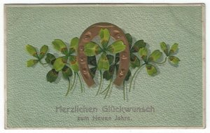Vintage Greetings Postcard, Congratulations, Gold Horseshoe, Four Leaf Clover
