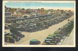 REHOBOTH BEACH DELAWARE AVENUE OLD CARS PARKING VINTAGE POSTCARD 1920's