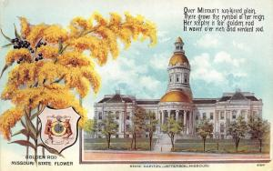 JEFFERSON, MO Missouri  STATE CAPITOL~Poem~GOLDEN ROD FLOWER  c1910's Postcard