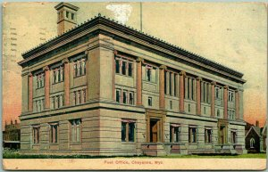 Cheyenne, Wyoming Postcard Post Office Building / Street View w/ 1909 Cancel