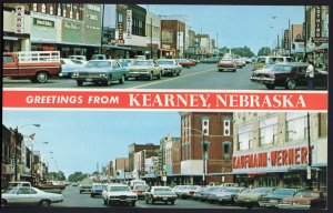 Nebraska KEARNEY SplitView Street Views Store Fronts lots of cars 1950s-1970s