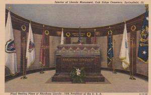 Illinois Springfield Interior Of Lincoln Monument Oak Ridge Cemetery Curteich