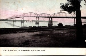 Iowa Muscatine High Bridge Over The Mississippi River 1908