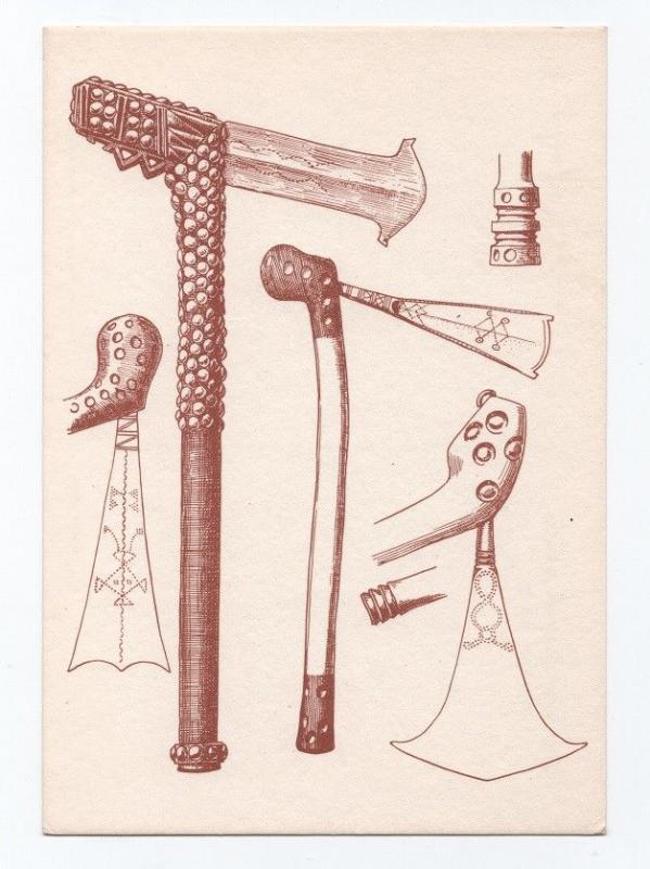 ART POSTCARD 1960years AFRICA ANGOLA ETHNIC NATIVE ARMS AXLES AXE AFRIKA AFRIQUE
