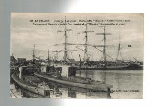 Mint WW 1 France Navy Two Submarines La Pallice in Port Real picture Postcard