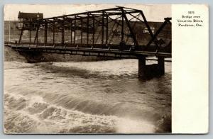 Pendleton Oregon~Bridge over Umatilla River~ House At Other End~1907 B&W PC