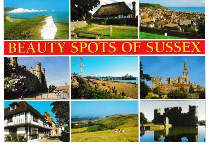 Post Card Sussex Beauty Spots of Sussex 9 views Salmon Cameracolour 2-62-00-08