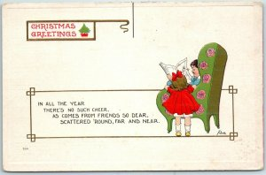 Vintage CHRISTMAS GREETINGS Embossed Postcard Artist-Signed WALL c1910s
