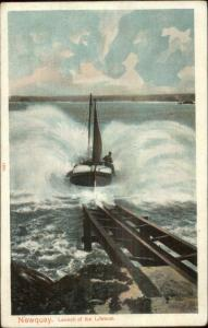 Newquay Launch of Lifeboat Life Saving c1910 Postcard