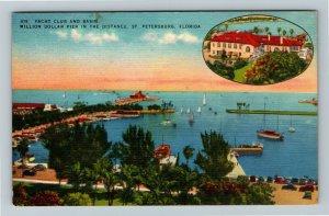 St. Petersburg FL-Florida, Yacht Club, Basin, Boats, Pier, Linen c1951 Postcard