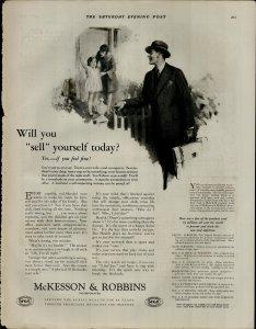 1927 Mckesson and Robbins Man Briefcase Little Girl Mom Vintage Print Ad 3871